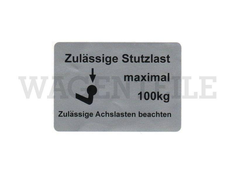 010 092 21A C Aufkleber Stützlast max. 100kg