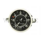 957 021 111 MX Tachometer ohne Tankuhr (bis 140km/h, große Zahlen, Ring matt)