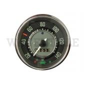 957 021 113 CX Tachometer ohne Tankuhr (bis 140km/h, Öldruckkontrolle grün, Ring chrom)